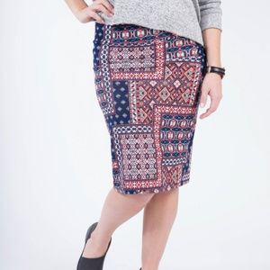 Morrocan Patchwork Navy Pencil Skirt